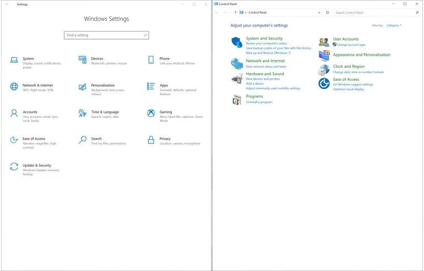 windows10 settings