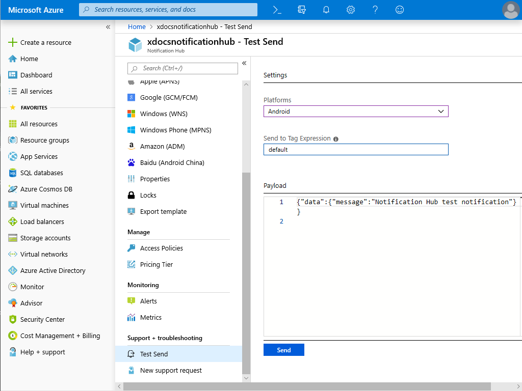 Screenshot of an Azure Notification Hub test message