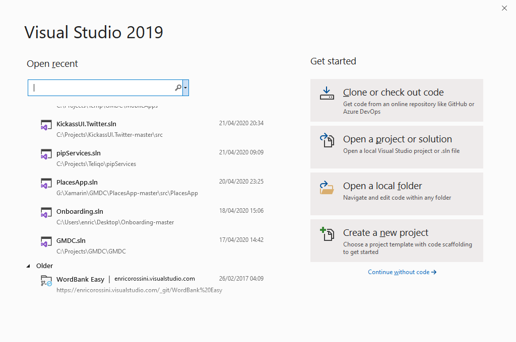 Visual Studio 2019 Start page