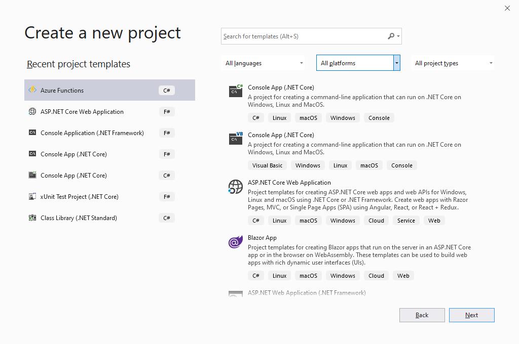 Visual Studio 2019 - Create a new project