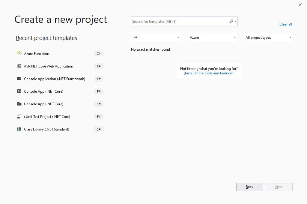 Visual Studio 2019 - Create a new project for Azure Function and F#