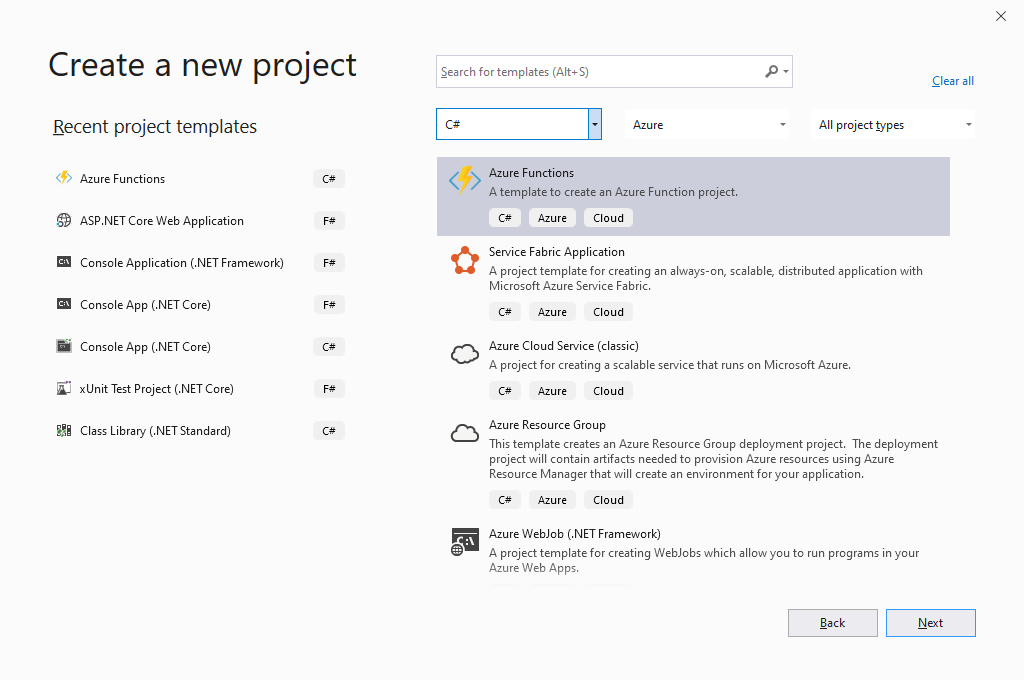 Visual Studio 2019 and Azure Functions in C#