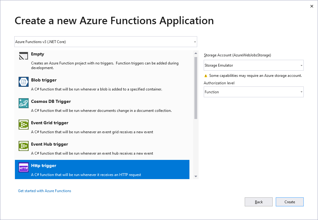 Visual Studio 2019: create a new Azure Functions Application
