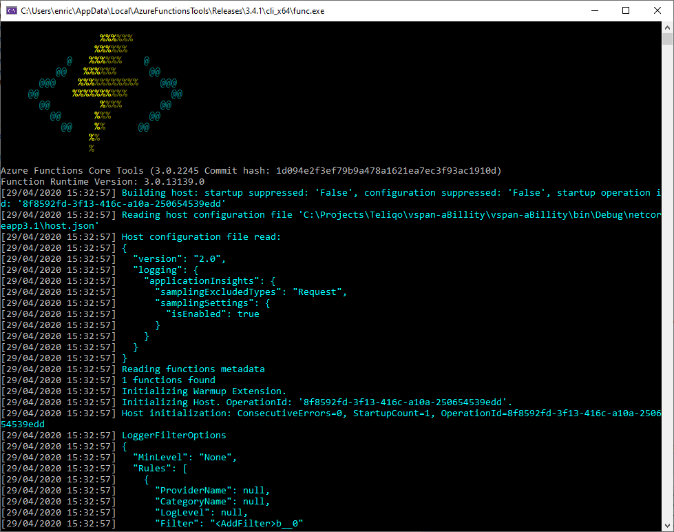 Azure Function up and running