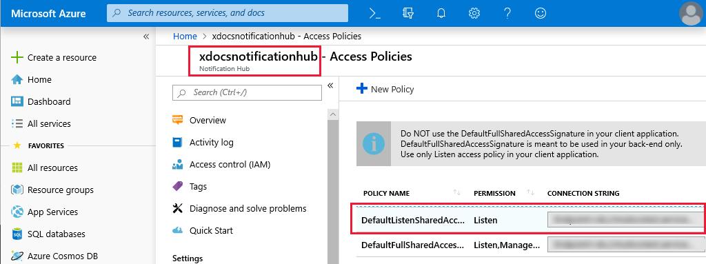 Screenshot of the Azure Notification Hub access policy