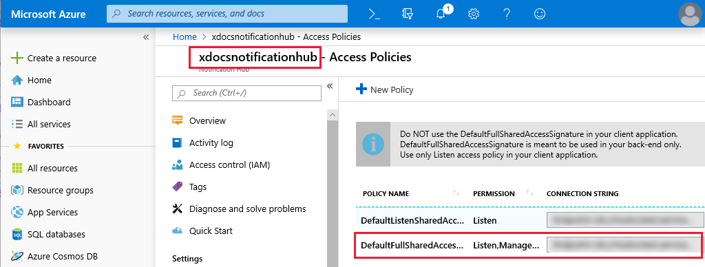 Screenshot of the Azure Notification Hub name and FullAccessConnectionString