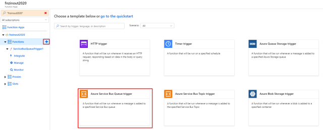 New function with Azure Service Bus Queue trigger