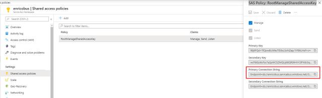 Azure Service Bus: SAS Policy: RootManageSharedAccessKey