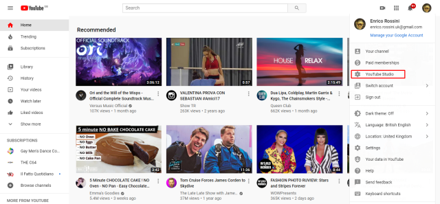 Login on YouTube home page