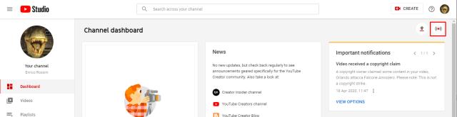 YouTube Studio Go Live