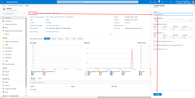 Create a new queue in Azure Service Bus