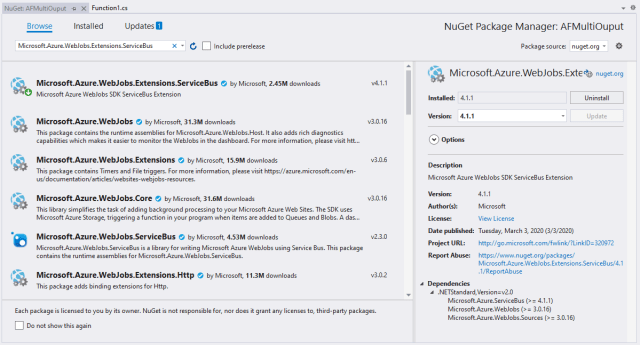 NuGet packages to install Service Bus