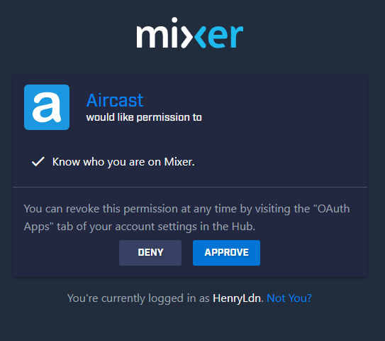 Mixer requires approval to connect Aircast