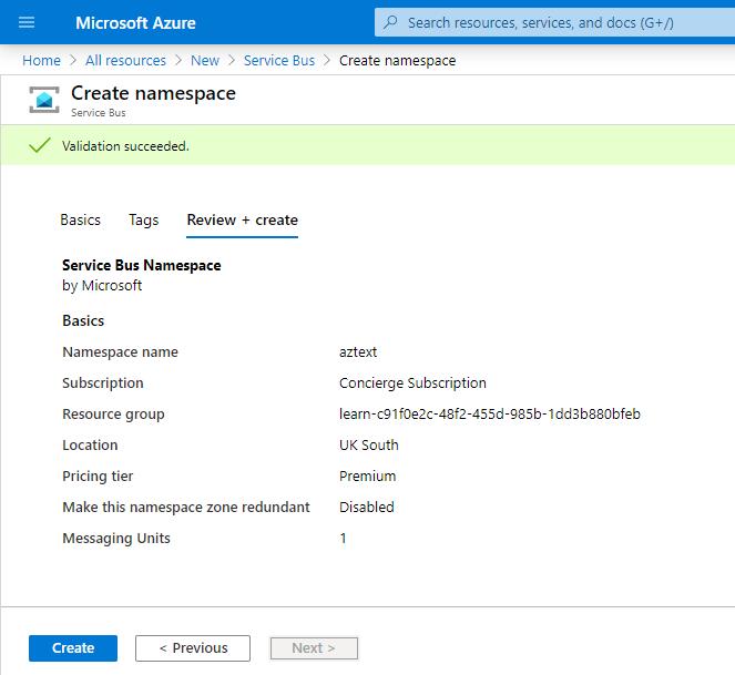 Create Service Bus in Azure Portal
