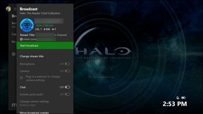 Start broadcast on Xbox