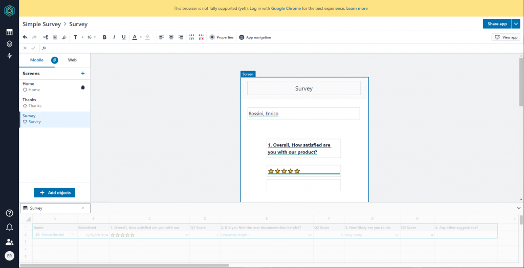 Honeycode: survey example