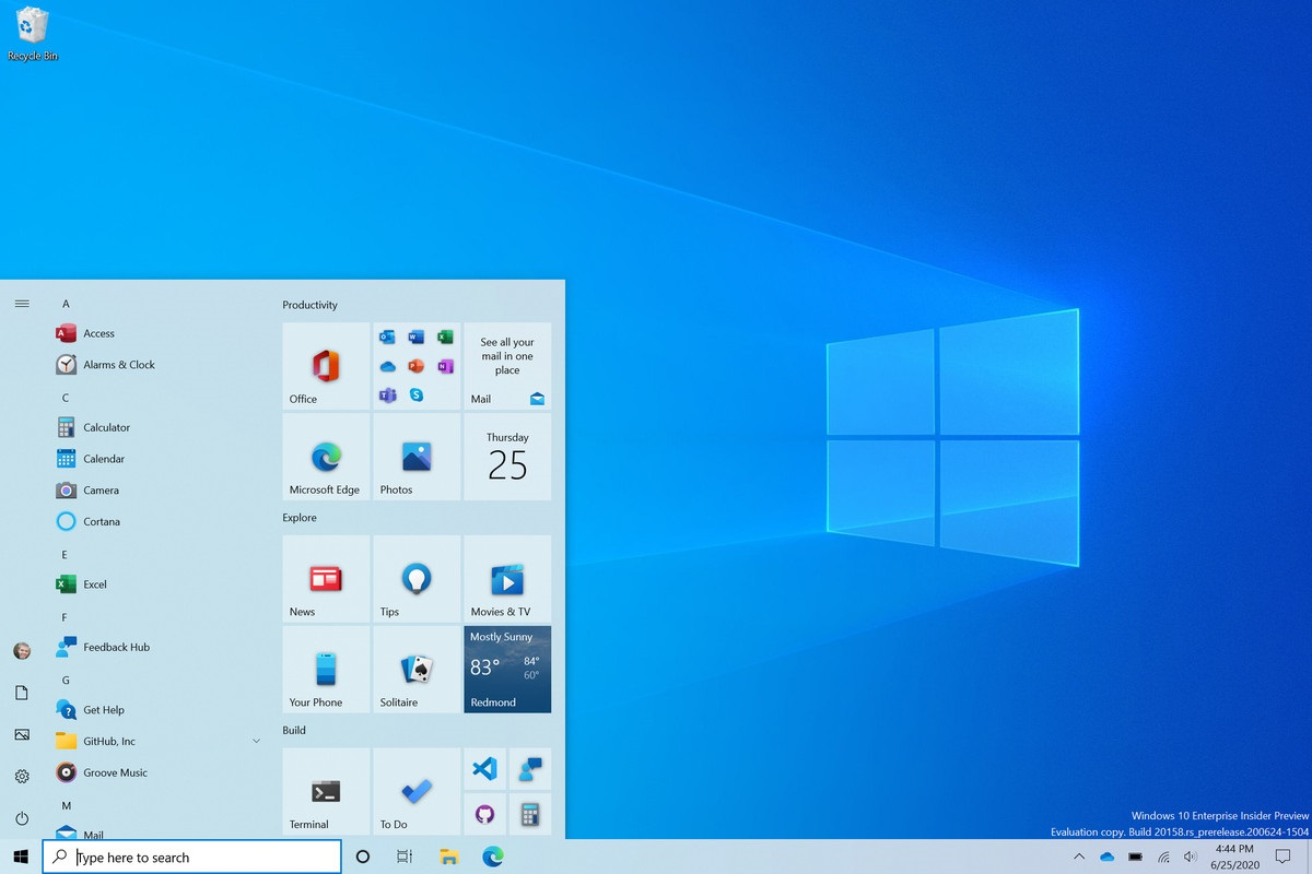 Windows10 new start menu
