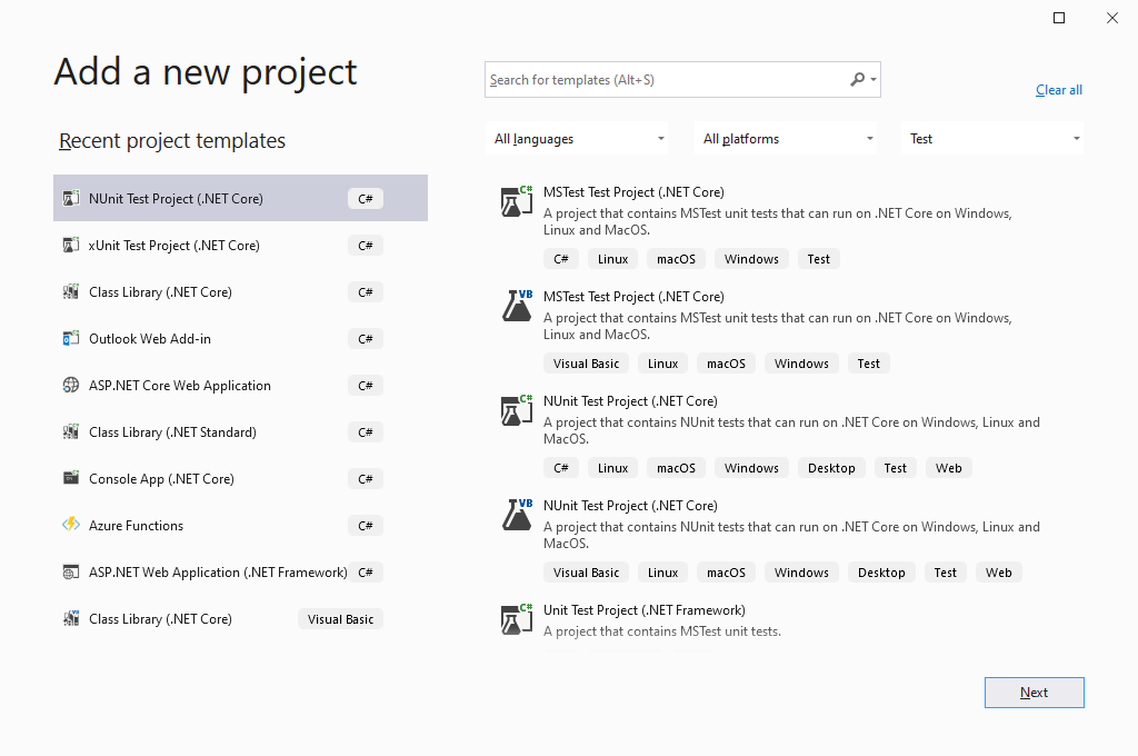 Visual Studio - Add new project - Test project