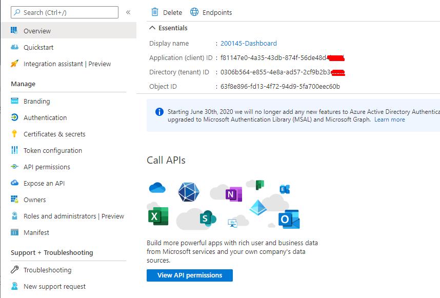 Azure Portal: example of TenantId