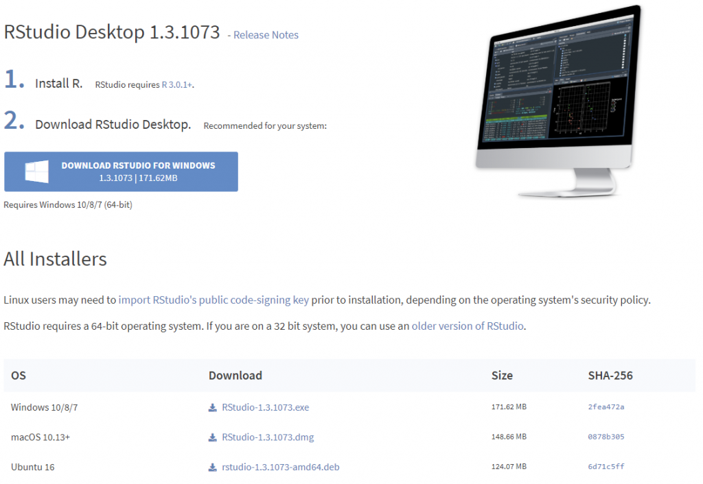 RStudio download page
