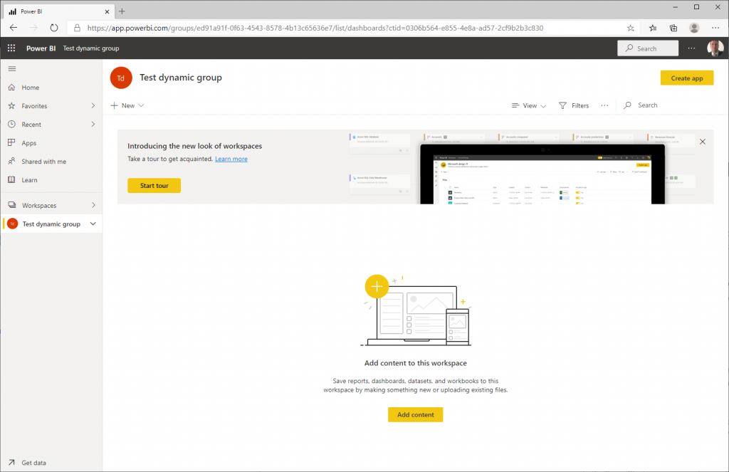 Connect web application to PowerBI: Workspace