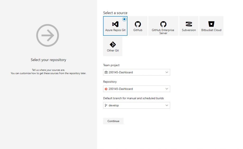 Azure DevOps - Select your repository
