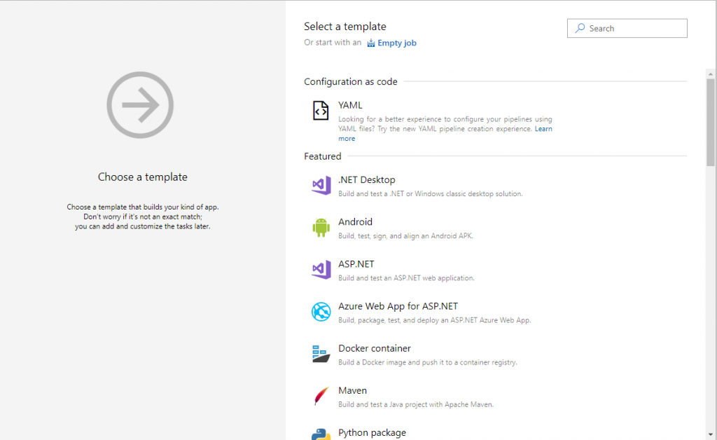 Azure DevOps - Choose a template
