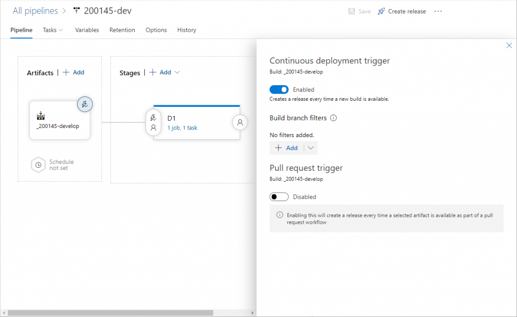 Azure DevOps Release - Enable Continuous deployment