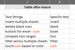 Microsoft Excel - After run HighlightStrings macro