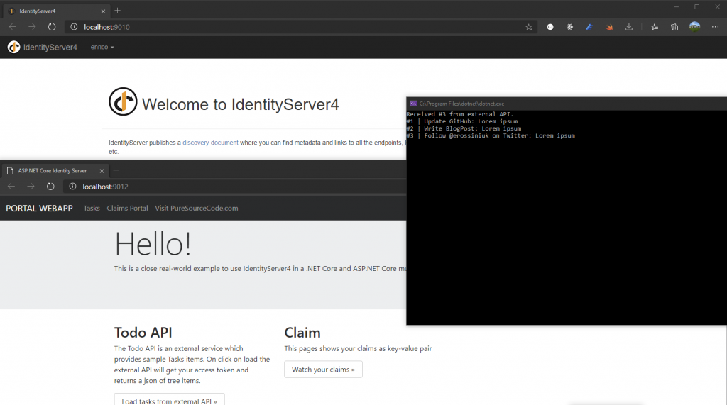Security with Identity Server 4 in a console application
