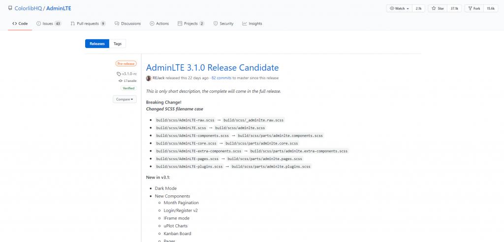 AdminLTE 3.1.0 Release Candidate