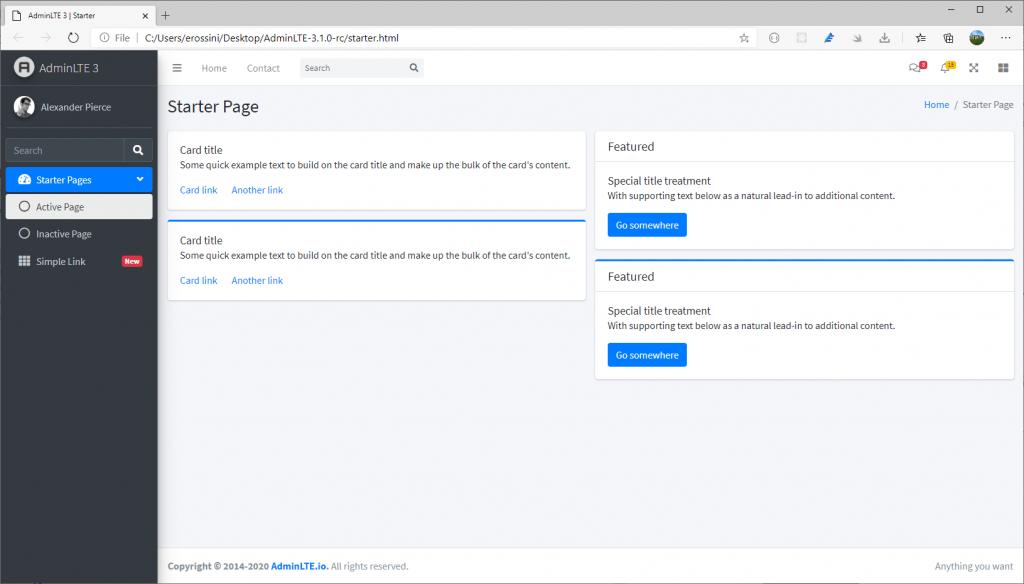 AdminLTE first start from starter.html