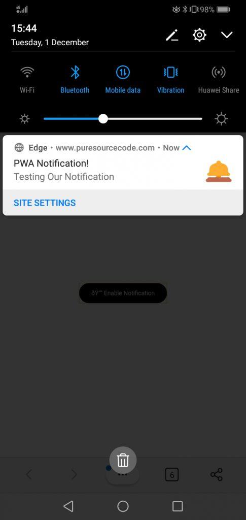 PWA notifications screenshot