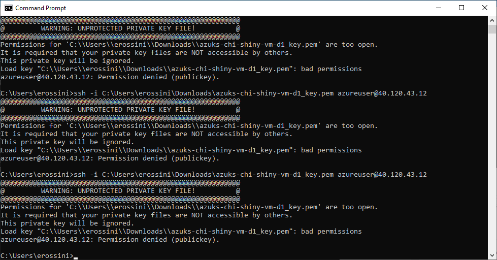 Command Prompt with bad permission error for opening a SSH connection - Deploy ShinyApps with Azure and Docker