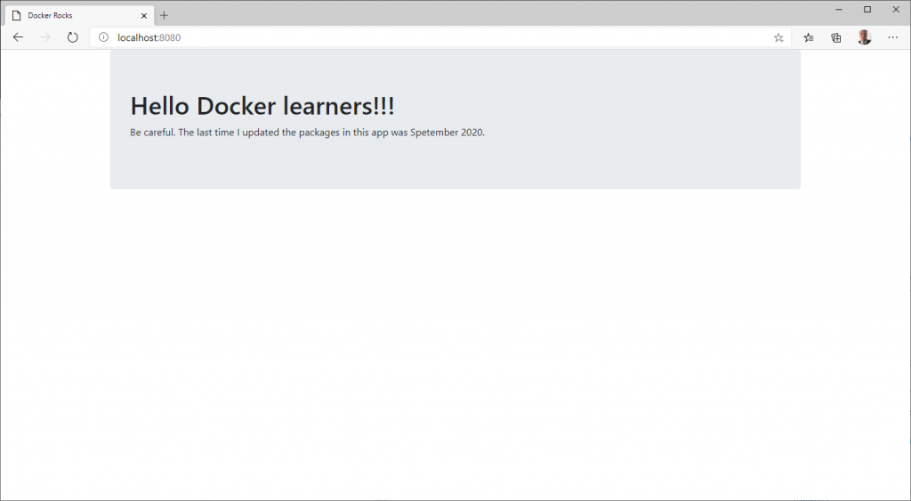 Website from a Docker container
