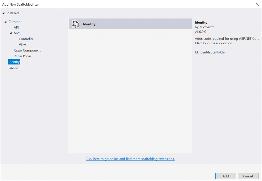 Select Identity in Visual Studio 2019 - Integration with Identity in AdminLTE project