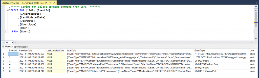 Audit.NET in action: logs in the SQL Server table as JSON