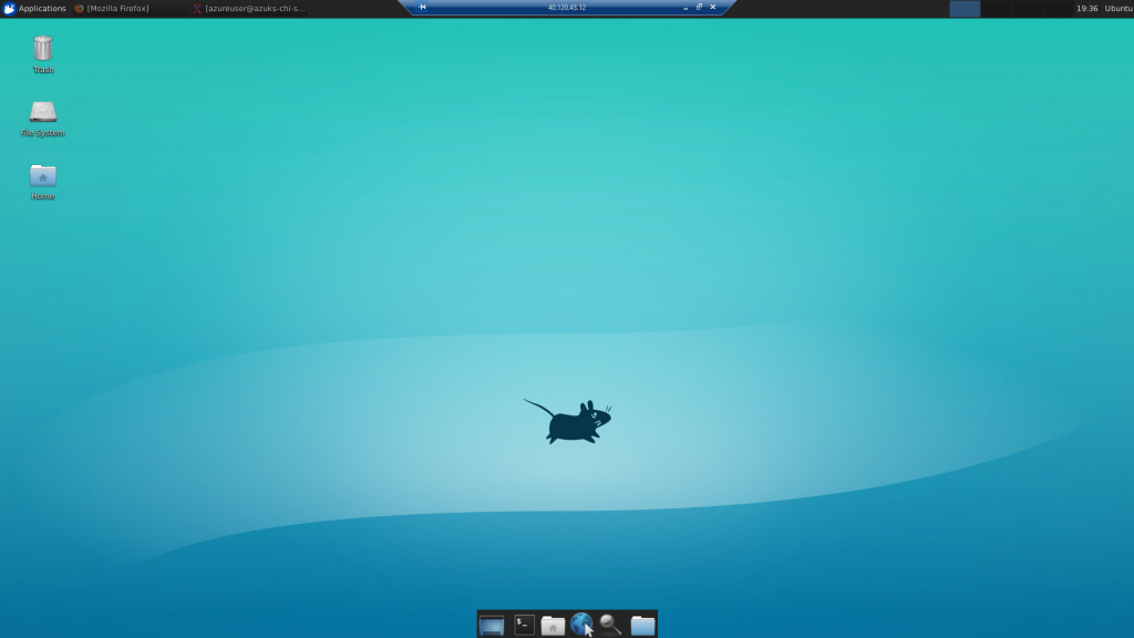 Remote Desktop Connection to Ubuntu's virtual machine - Desktop - Deploy ShinyApps with Azure and Docker