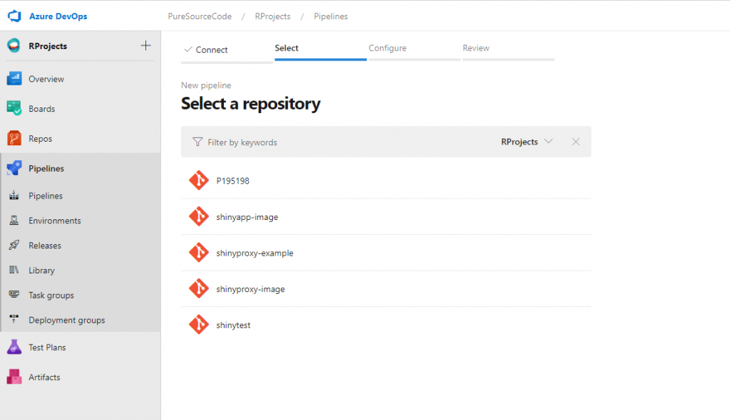 Azure DevOps - Pipeline: select repository - Deploy ShinyApps with Azure and Docker