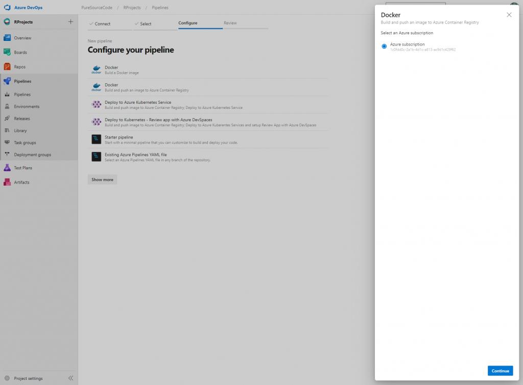 Azure DevOps - Pipeline: choose subscription - Deploy ShinyApps with Azure and Docker