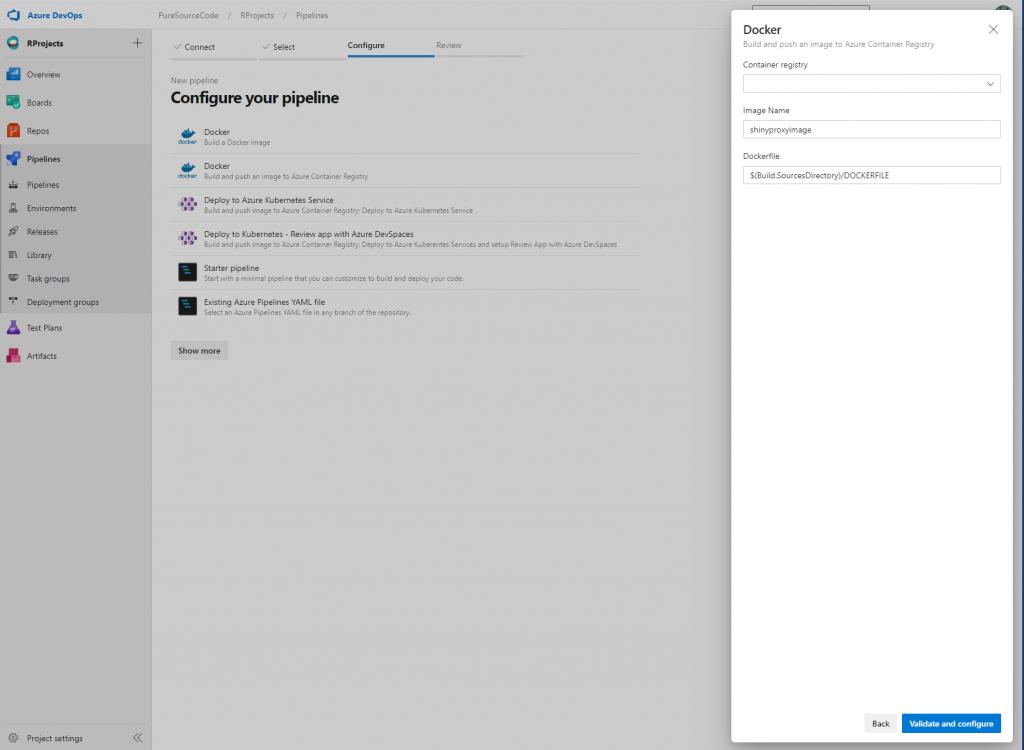 Azure DevOps - Pipeline: docker options - Deploy ShinyApps with Azure and Docker