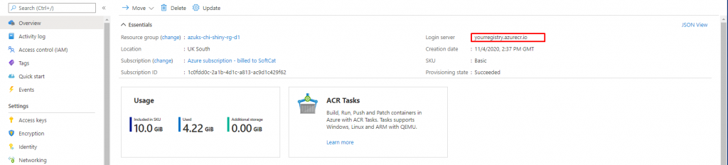 Azure Container Repository login server - Deploy ShinyApps with Azure and Docker