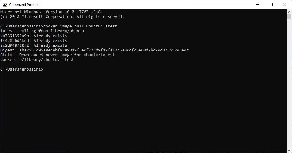 Command Prompt pulls an Ubuntu Docker image