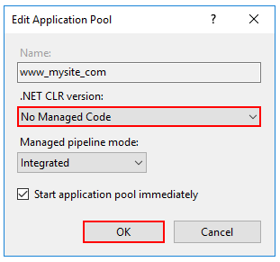 Set No Managed Code for the .NET CLR version.