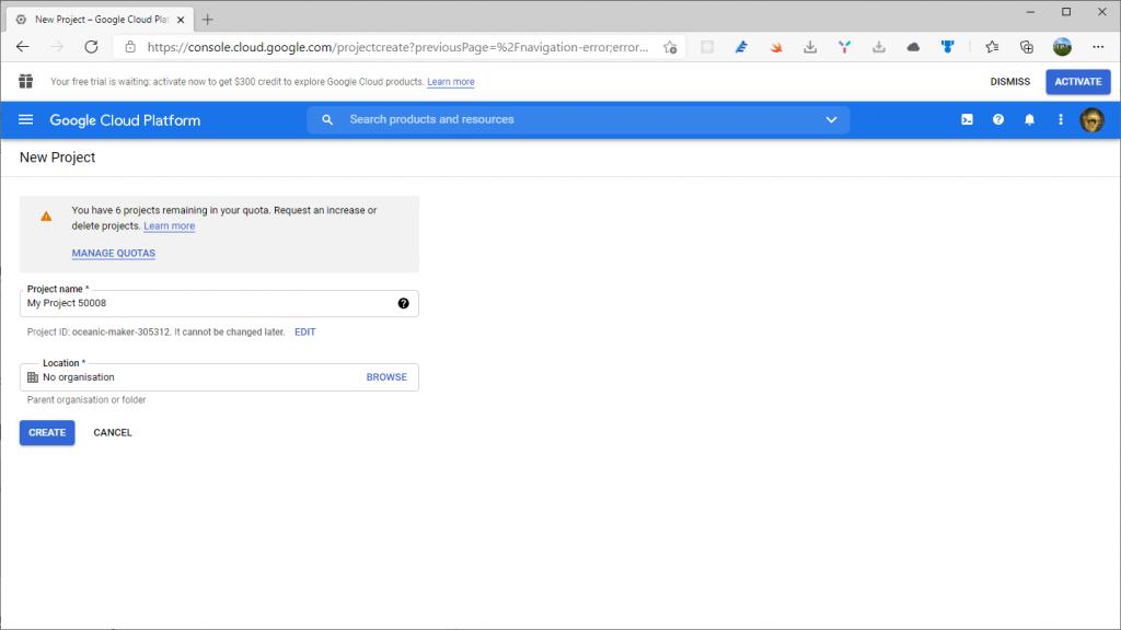 Google Cloud Platform new project - External providers in AdminLTE project