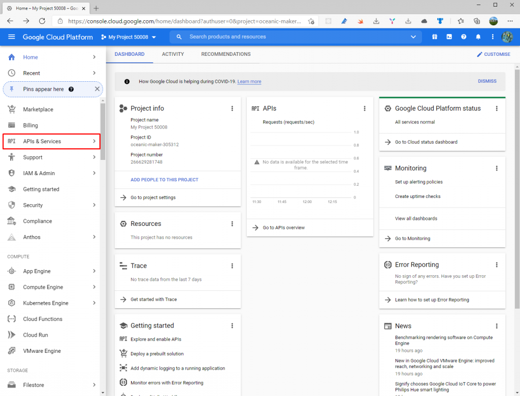 Project dashboard on Google Developer Console - External providers in AdminLTE project