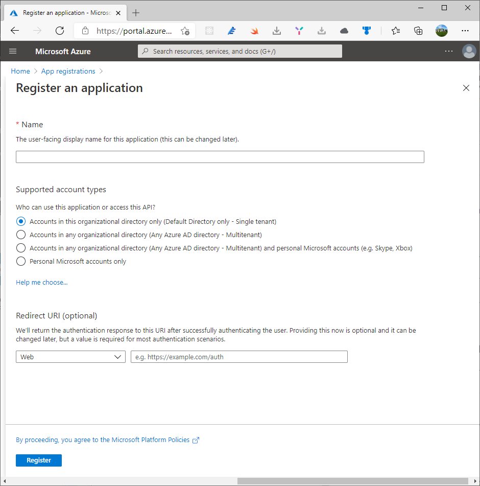 Register an application with Microsoft