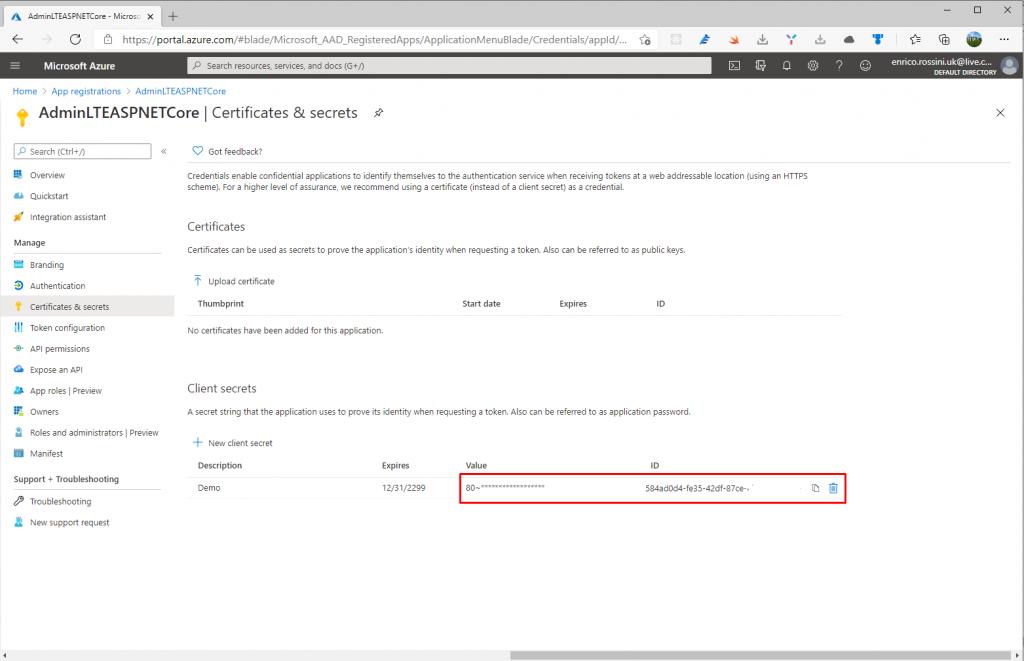 Client secret in Certificate & Secret on Azure