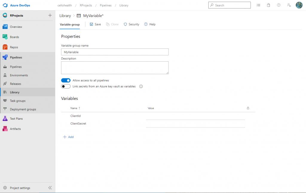 Create new library in Azure DevOps - Customize your pipeline in Azure DevOps