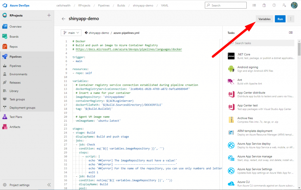 Variables for a single pipeline - Customize your pipeline in Azure DevOps